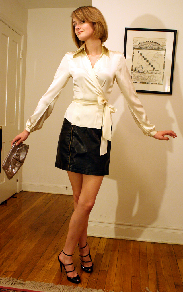 satin wrap top and leather skirt