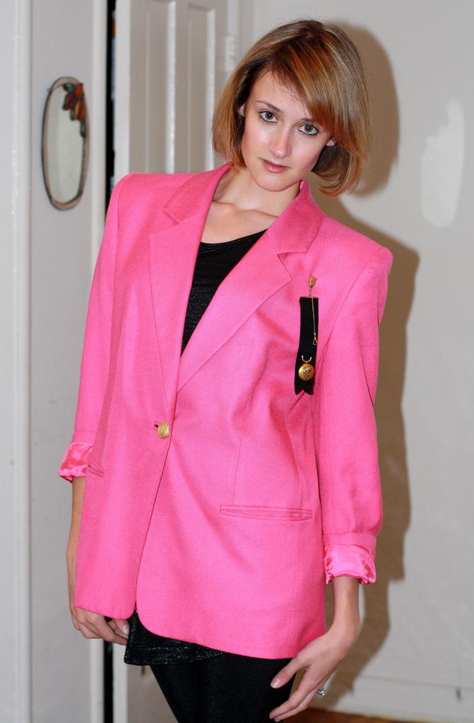 vintage neon pink blazer