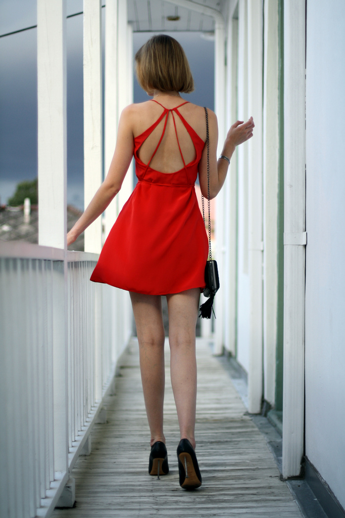 Sea red dress and Margiela nail heels
