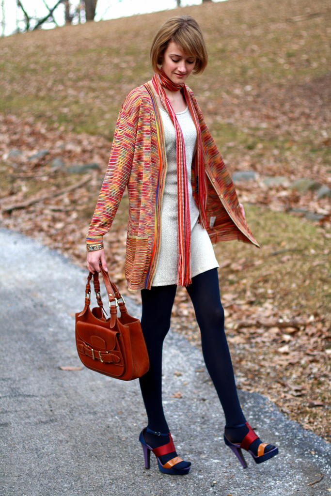 Missoni cardigan and Bally bag