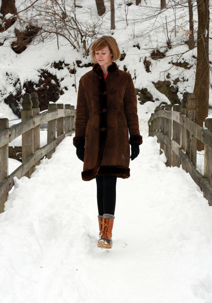 vintage shearling coat and LL Bean duck boots
