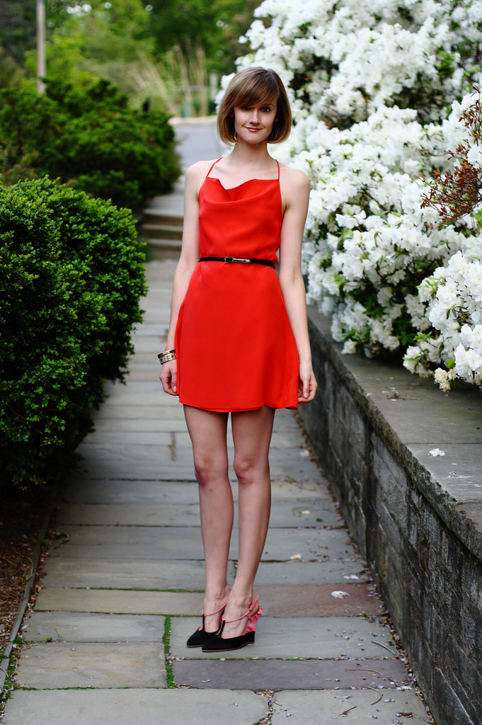 red Sea dress and Miu Miu wedges