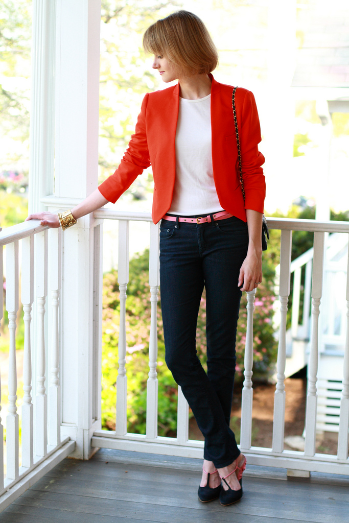Zara orange blazer and jeans