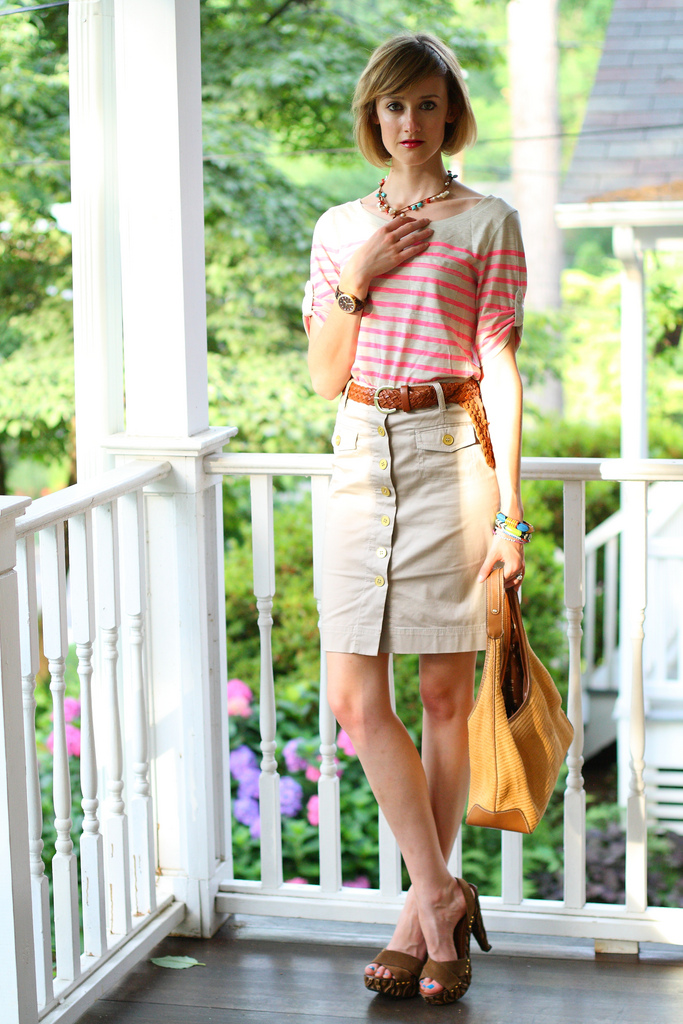 striped Banana Republic top and khaki skirt