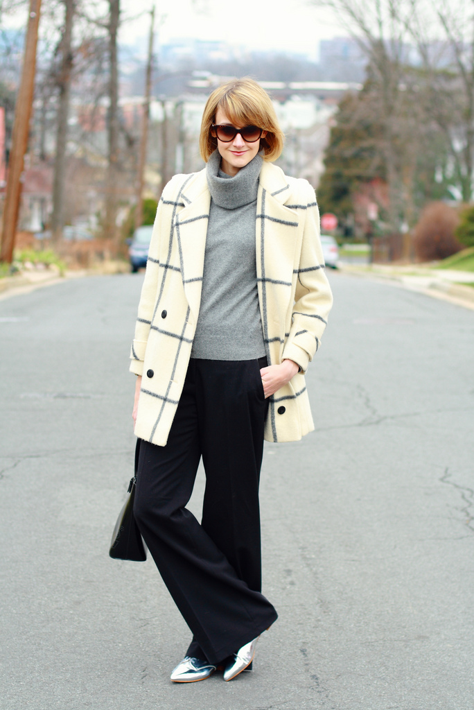 window pane plaid coat and wide-legged pants