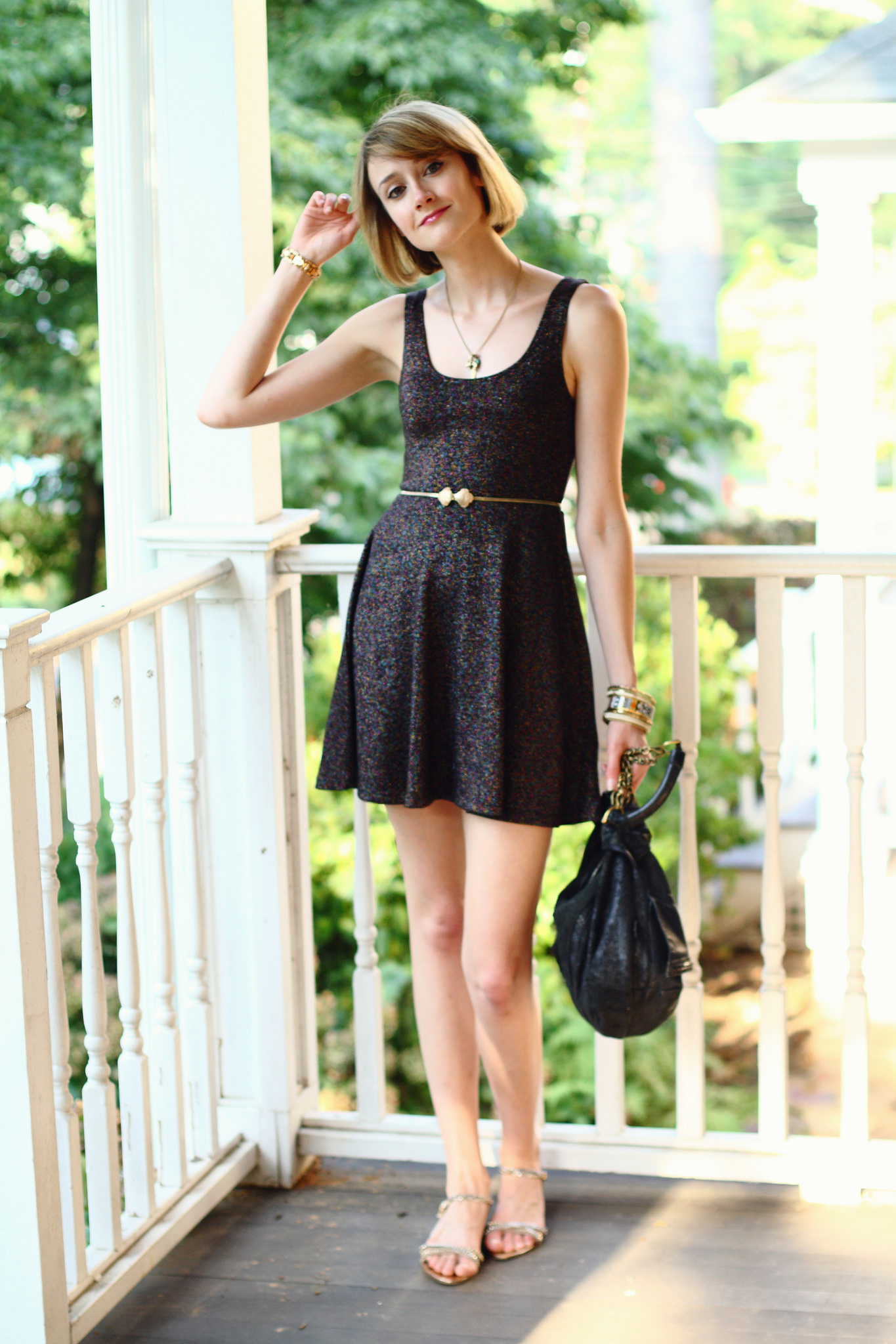 sparkly Topshop dress and vintage belt