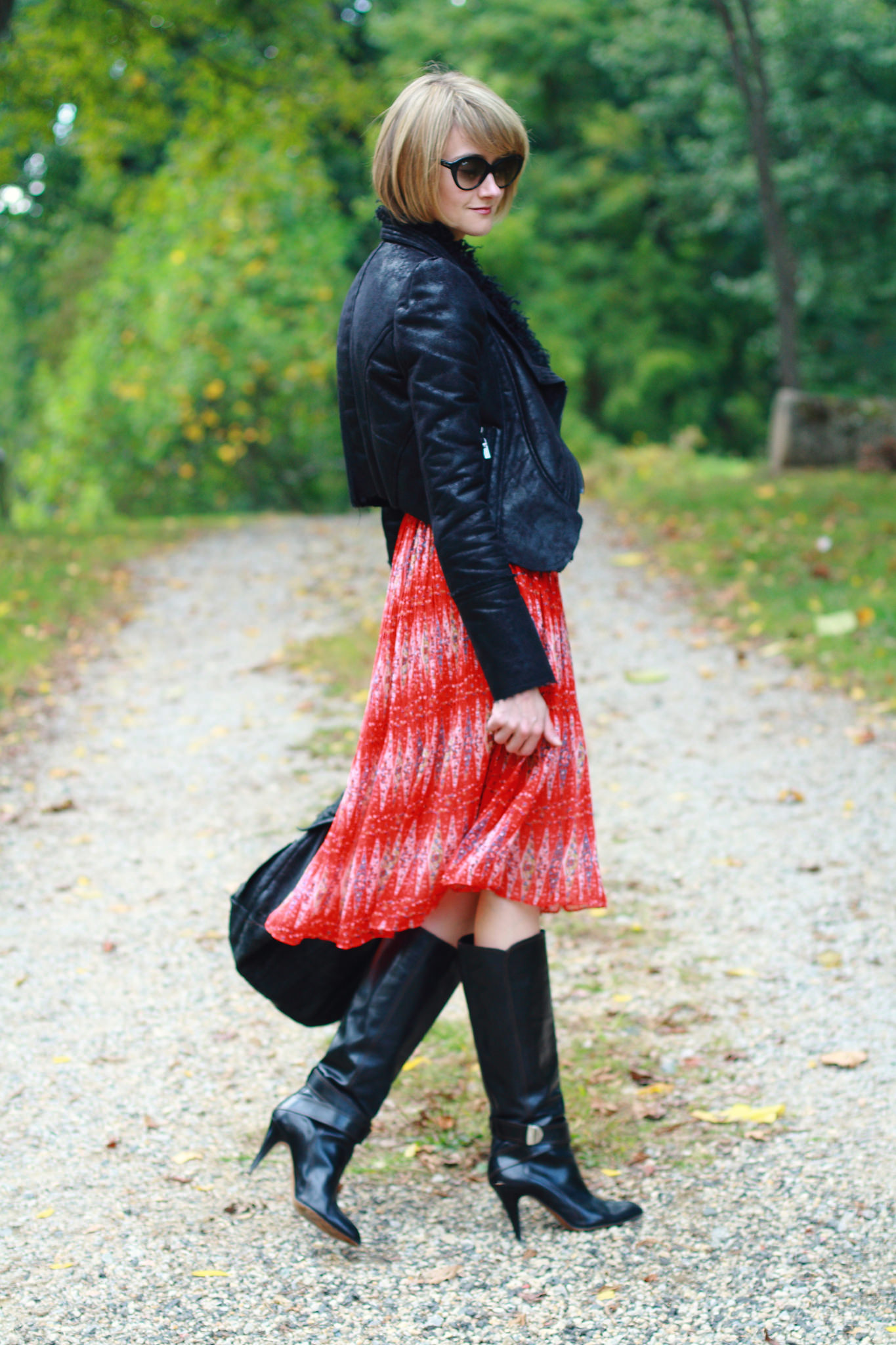 Romwe leather jacket and red dress