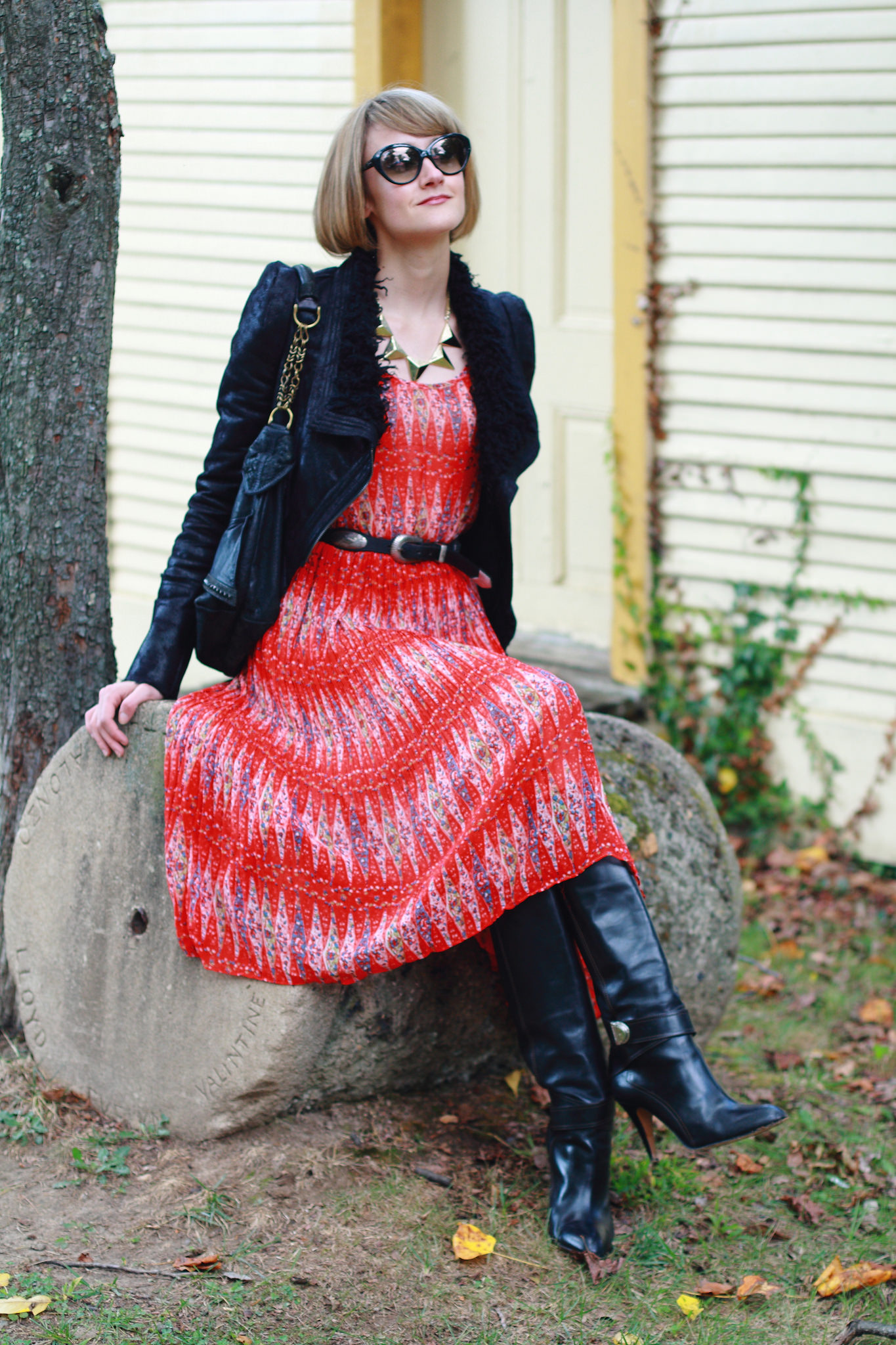 Romwe leather jacket, red dress, and Karen Millen boots