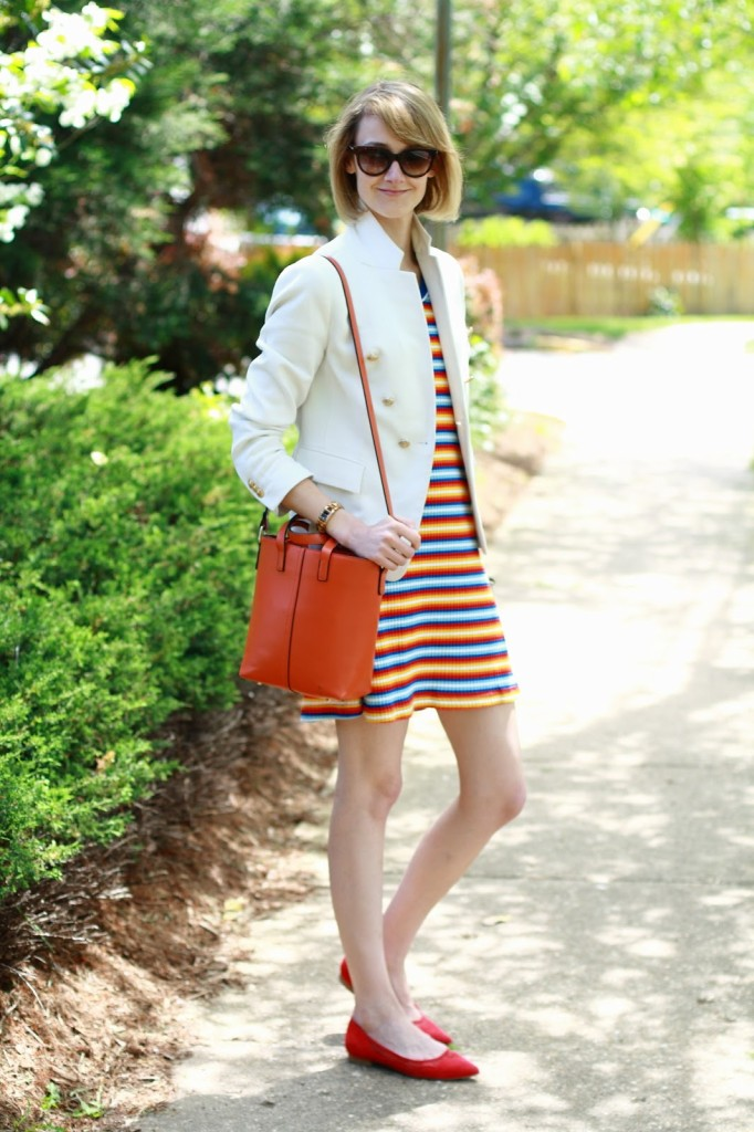 white Zara blazer and thrifted striped dress