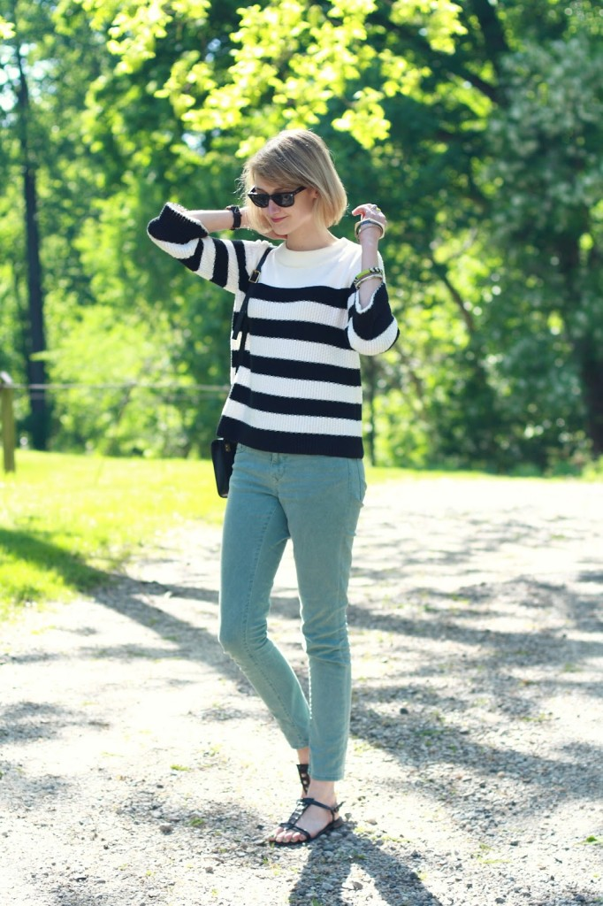 striped sweater and mint jeans