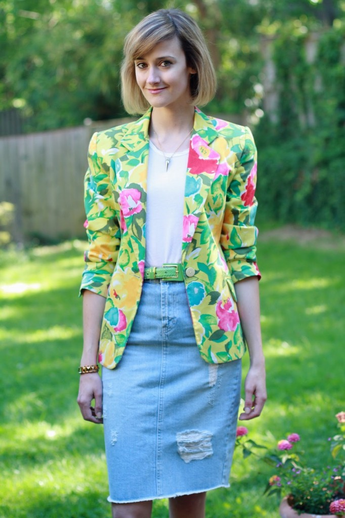 District of Chic floral blazer + denim skirt