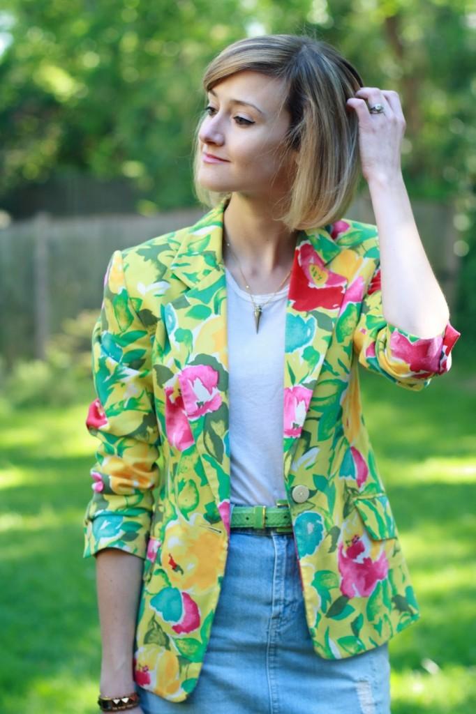 District of Chic floral blazer + denim skirt