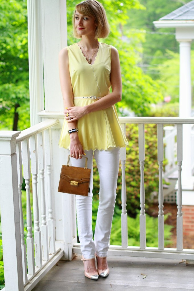 vintage yellow top and white jeans