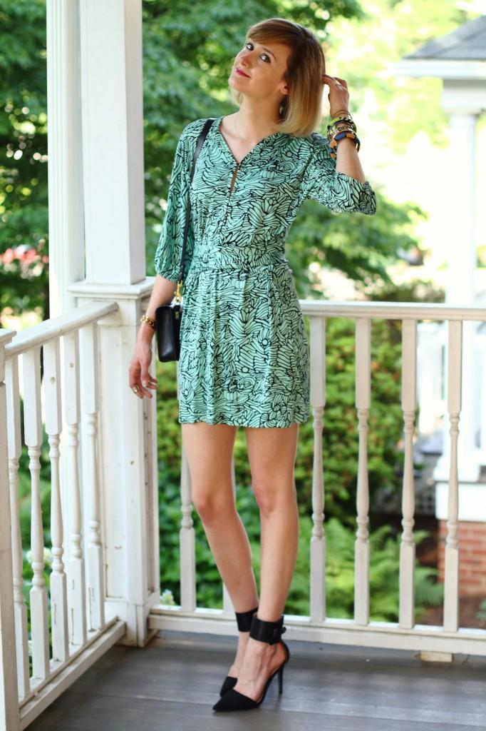 Mara Hoffman dress + ankle strap pumps