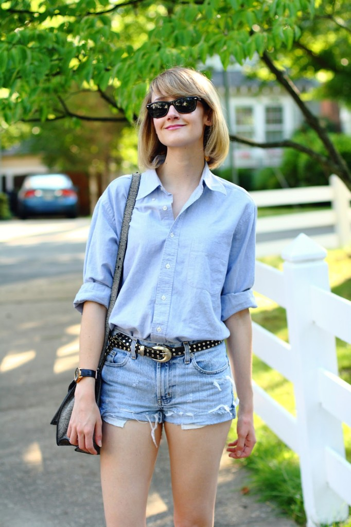 men's shirt and denim shorts