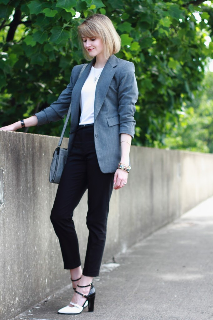 gray blazer and black pants work outfit