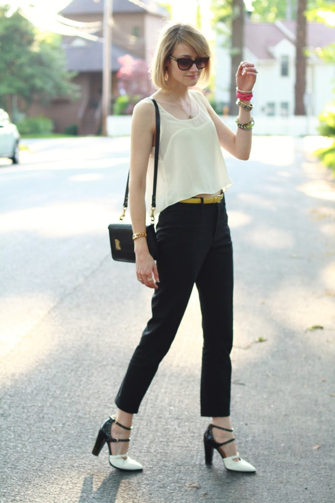 cropped top and two-tone shoes