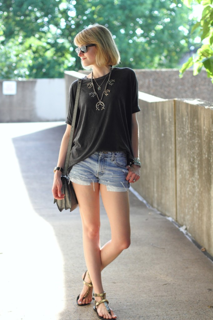 squash blossom, oversized tee, distressed denim shorts