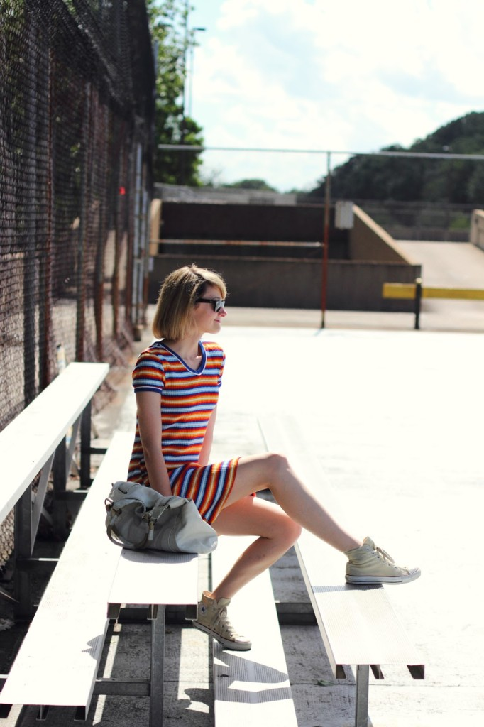 striped dress and Converse Chucks