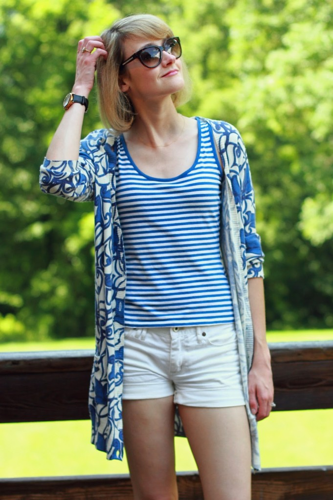 blue and white stripes and denim shorts