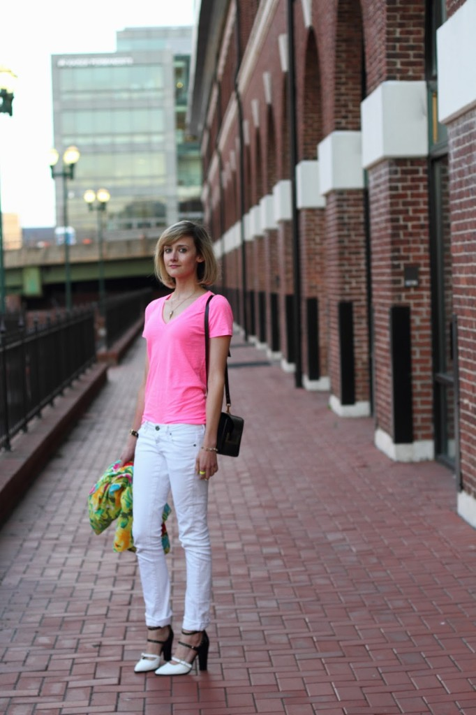 pink t-shirt and white denim