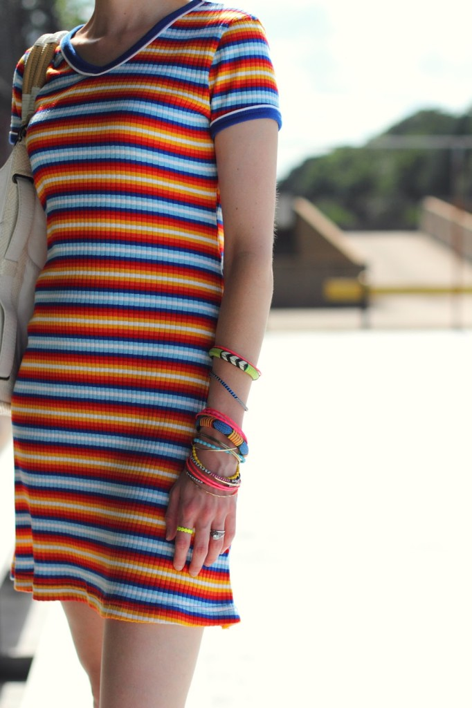 striped t-shirt dress and bright jewelry