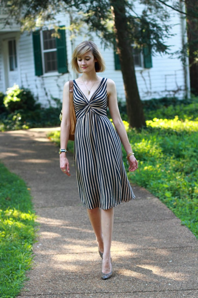 Ted Baker striped dress and Proenza Schouler heels