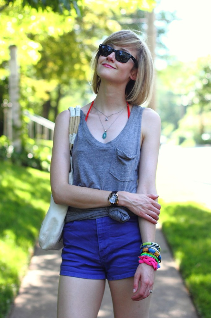 knotted tank top and purple denim shorts