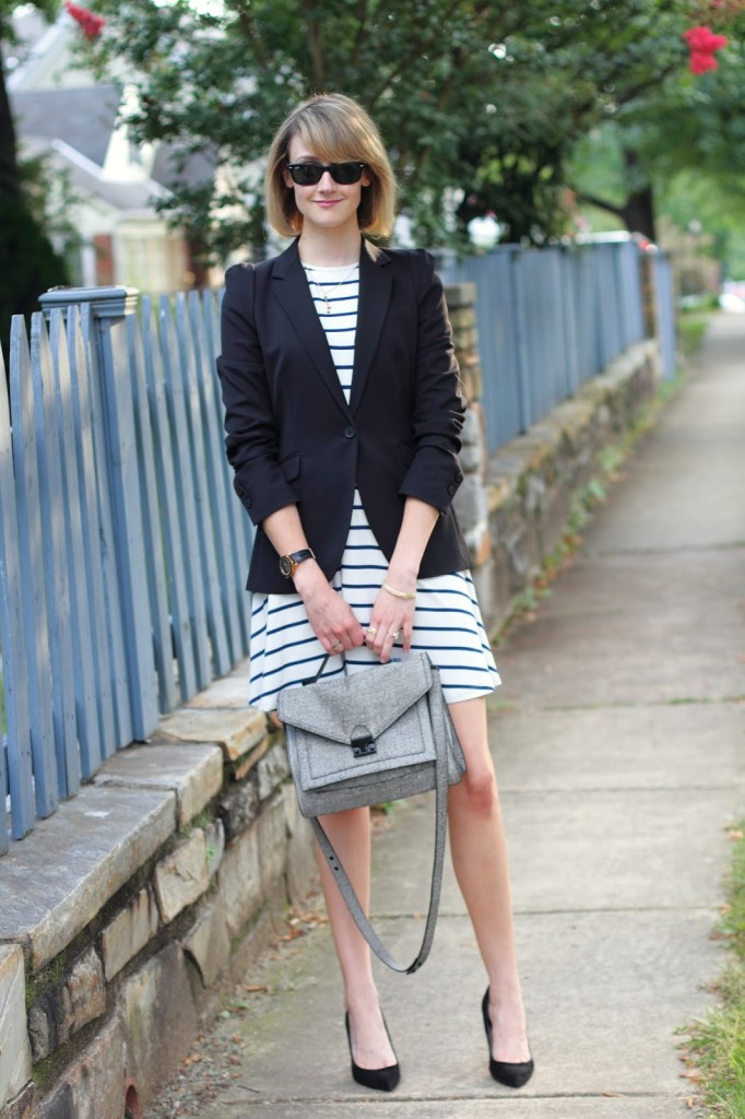 ASOS striped dress, Zara blazer, Loeffler Randall bag