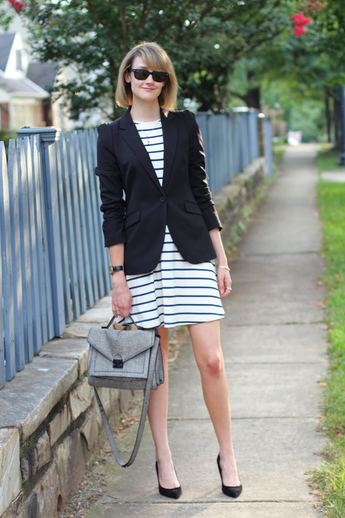 District of Chic striped dress work outfit