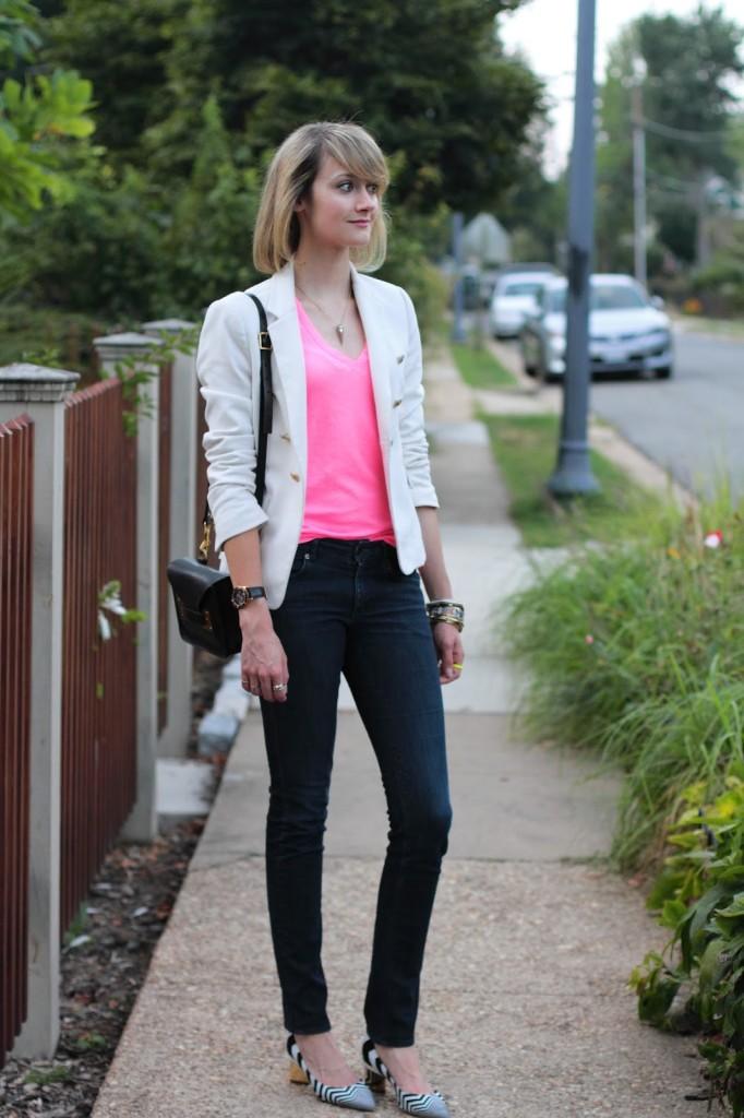 white blazer, pink v-neck, skinny jeans, and zig-zag heels