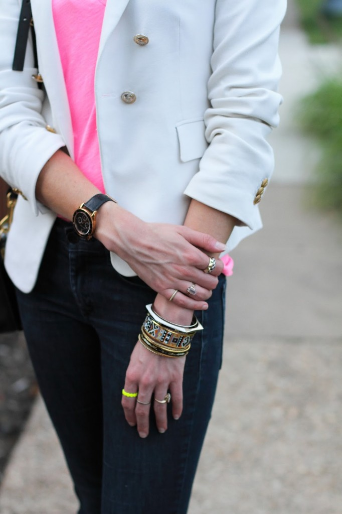 Hermes, Madewell, and Amrita Singh bangles with nOir, Madewell, and vintage rings