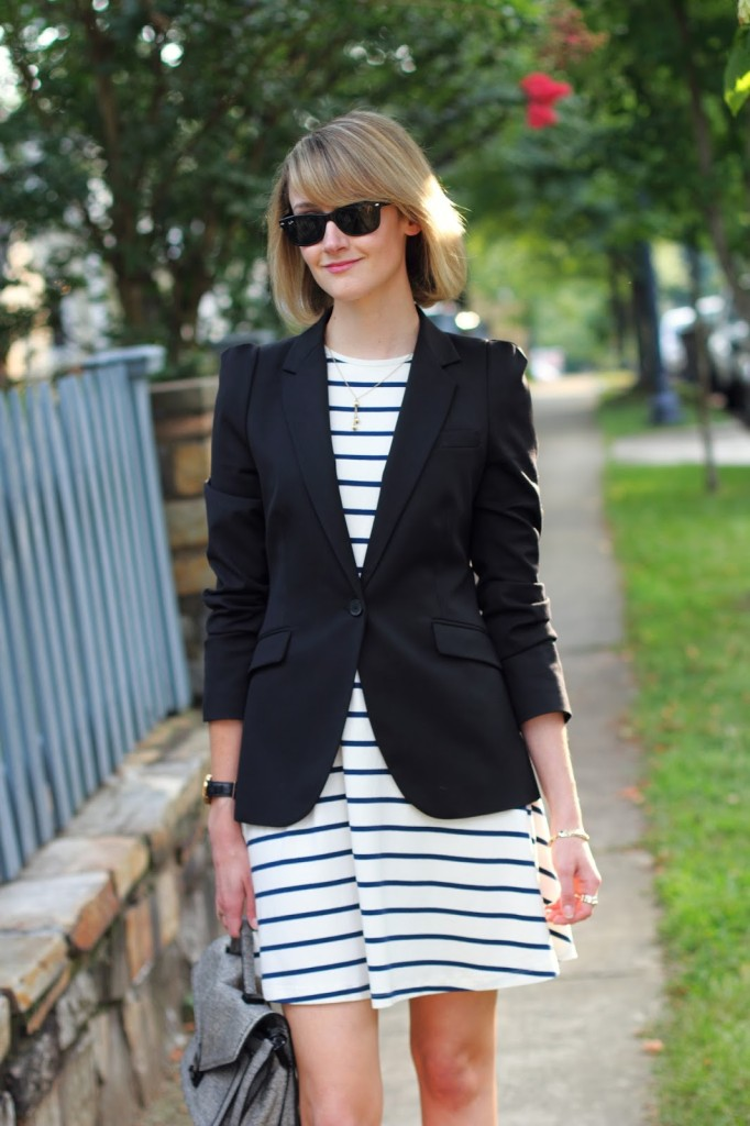 ASOS striped dress and Zara blazer