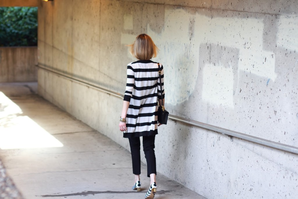 black and white outfit with Nicholas Kirkwood heels