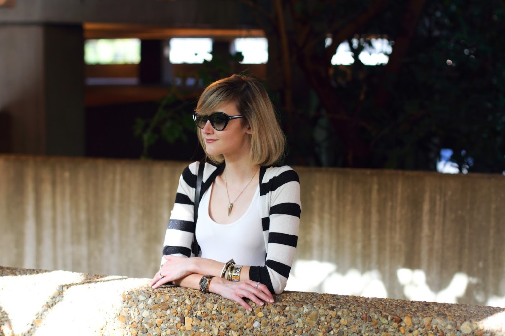 cat eye sunglasses and black and white stripes