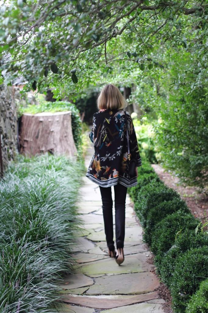 Pixie Market kimono wrap top and black denim