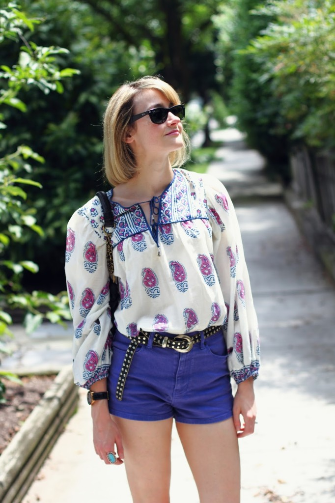 peasant blouse, vintage belt, and purple Ksubi shorts