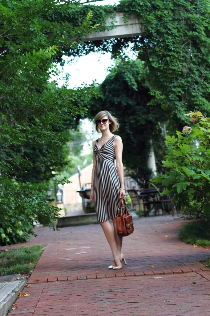 striped Ted Baker dress and Stuart Weitzman heels