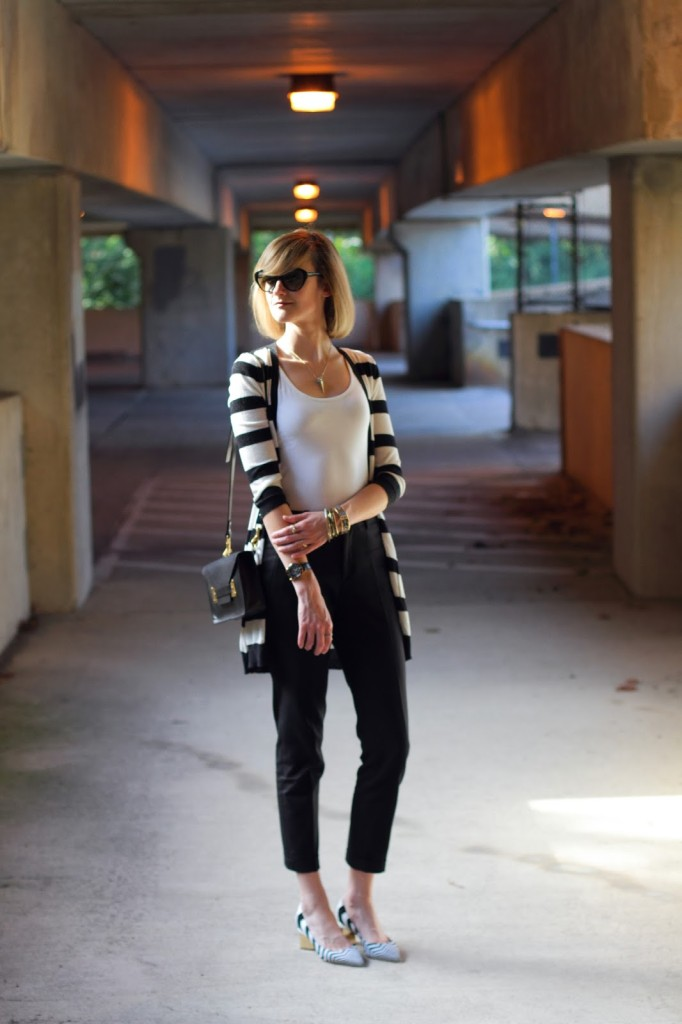 striped cardigan, Sophie Hulme bag, and Nicholas Kirkwood heels