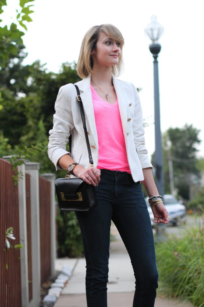 pink J. Crew v-neck and white Zara blazer