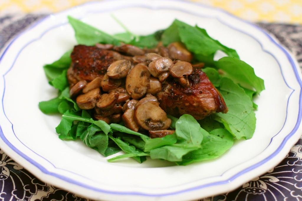 District of Chic Sunday Dinner: Steak with Arugula and Balsamic Mushrooms