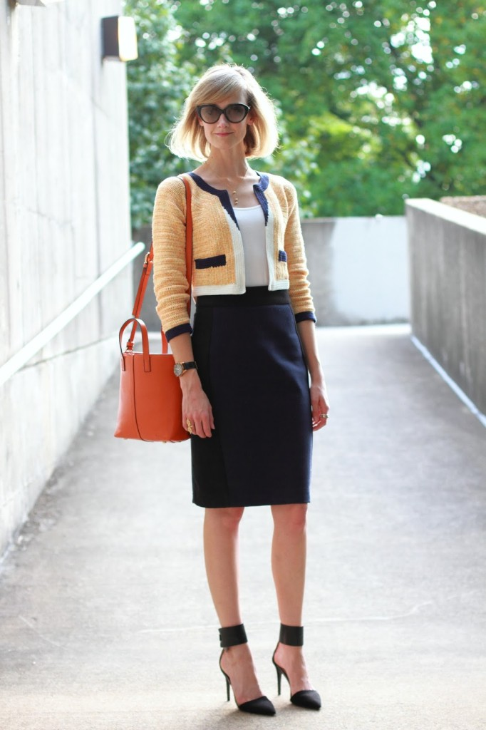 orange Anthropologie jacket, navy Zara skirt, and orange Romwe bag
