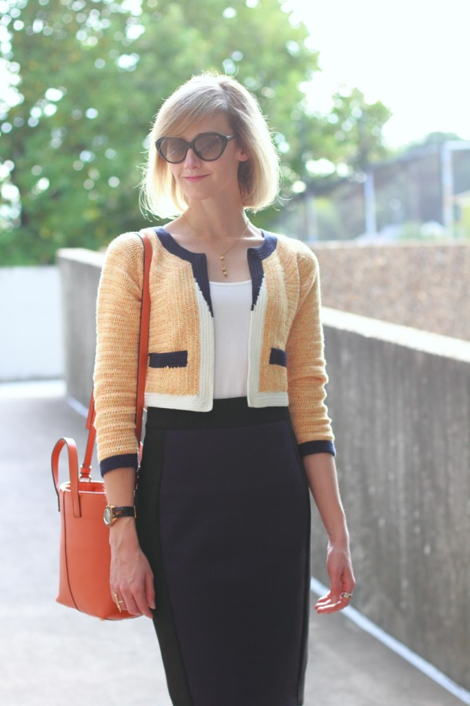 Anthropologie knit jacket and Zara skirt