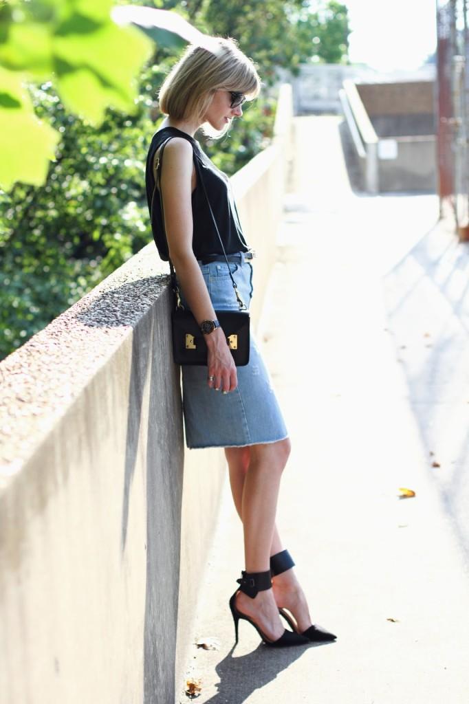 District of Chic: Anthom top, Sophie Hulme bag and Zara denim skirt