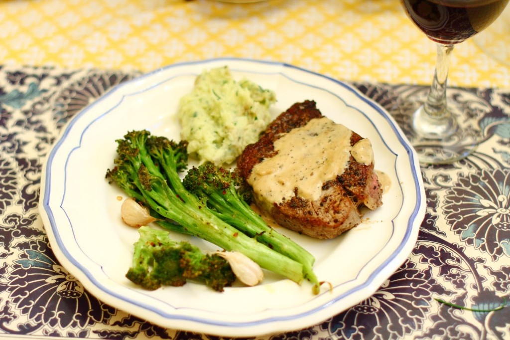 District of Chic Sunday Dinner: Pepper Steak with Roasted Broccoli and Herbed Mashed Potatoes