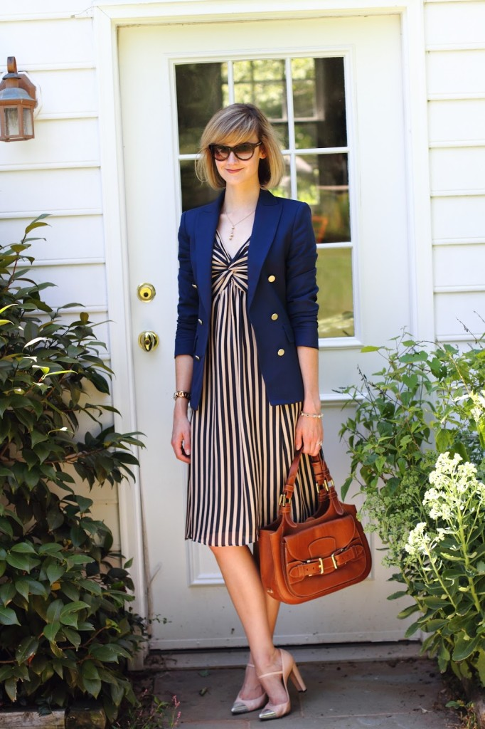 navy blazer and striped dress