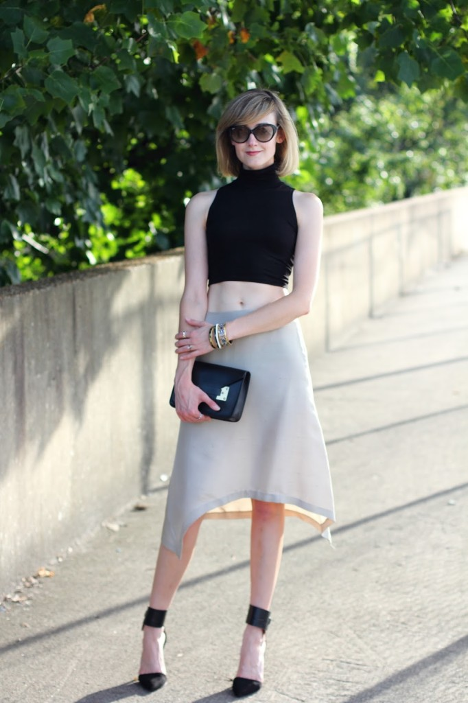 ASOS crop top and asymmetrical skirt