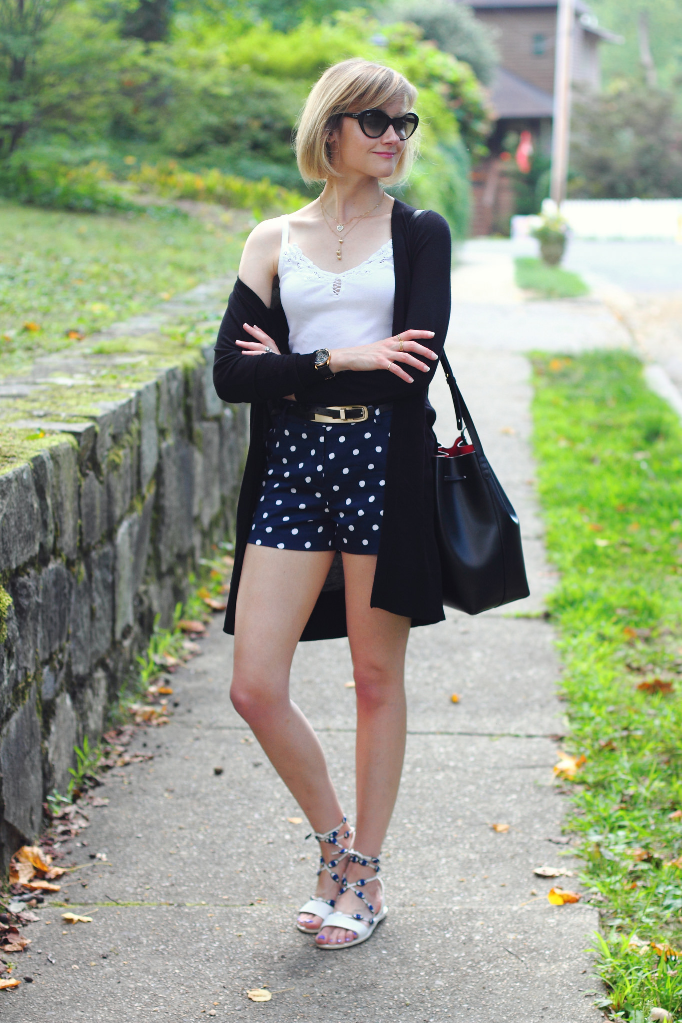 Oasis polka dot shorts and Loeffler Randall sandals