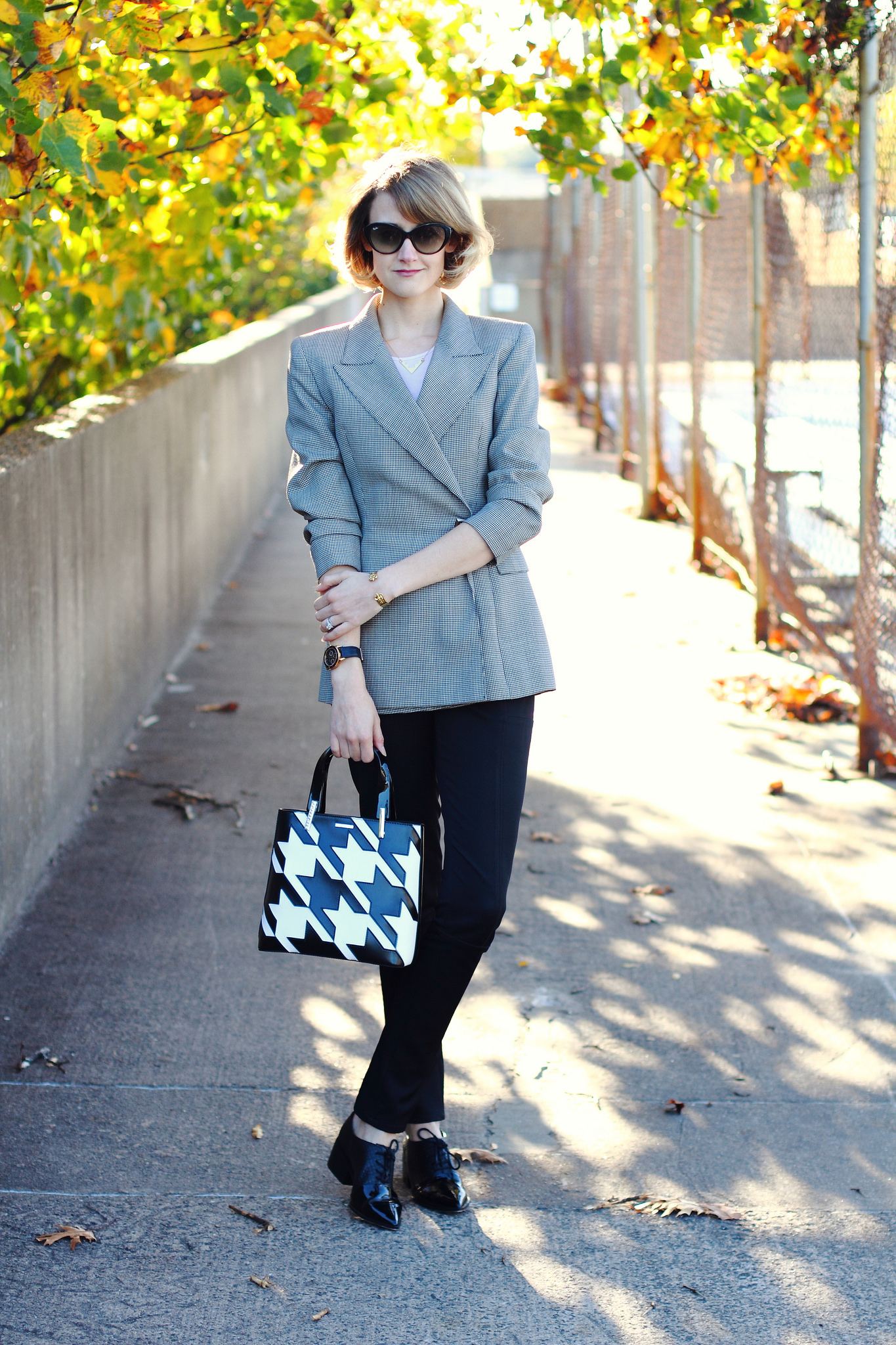 vintage blazer and Lamarthe houndstooth tote