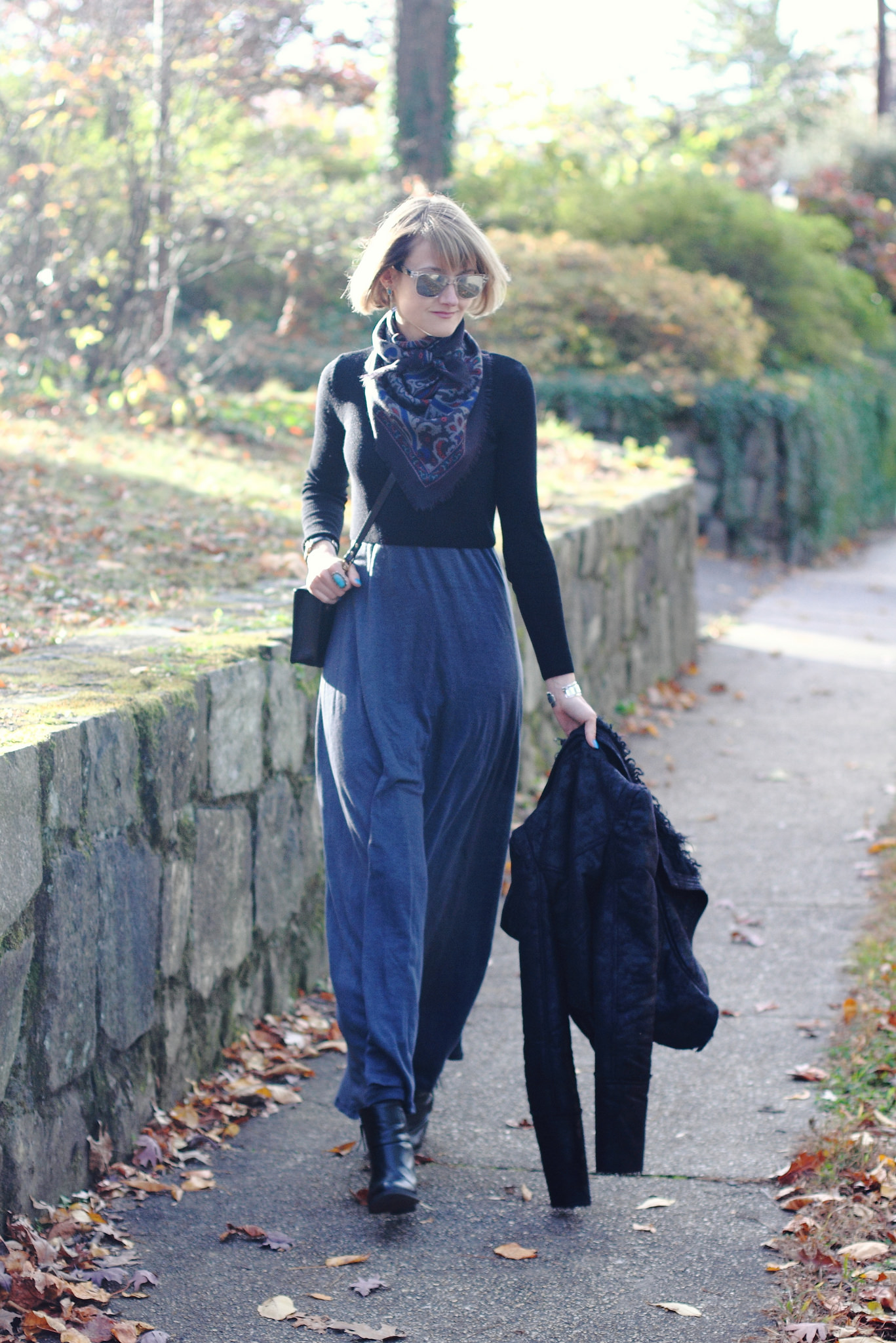 Maxi dress + cropped sweater